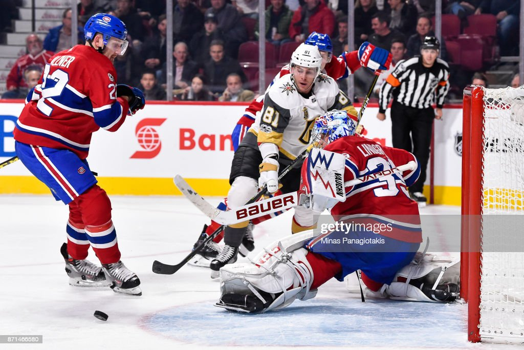 Charlie Lindgren #39 of the Montreal Canadiens makes a pad save near Jonathan Marchessault #81 of the Vegas Golden Knights during the NHL game at the Bell Centre on November 7, 2017 in Montreal, Quebec, Canada. The Montreal Canadiens defeated the Vegas Golden Knights 3-2.
