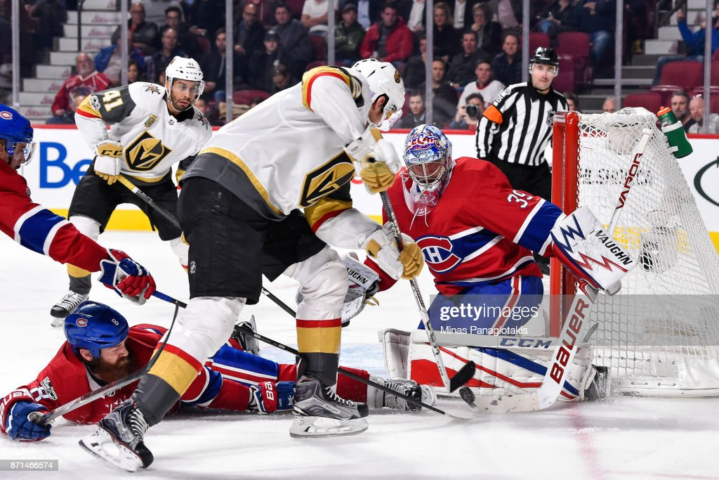 Charlie Lindgren #39 of the Montreal Canadiens makes a pad save on Tomas Nosek #92 of the Vegas Golden Knights during the NHL game at the Bell Centre on November 7, 2017 in Montreal, Quebec, Canada. The Montreal Canadiens defeated the Vegas Golden Knights 3-2.