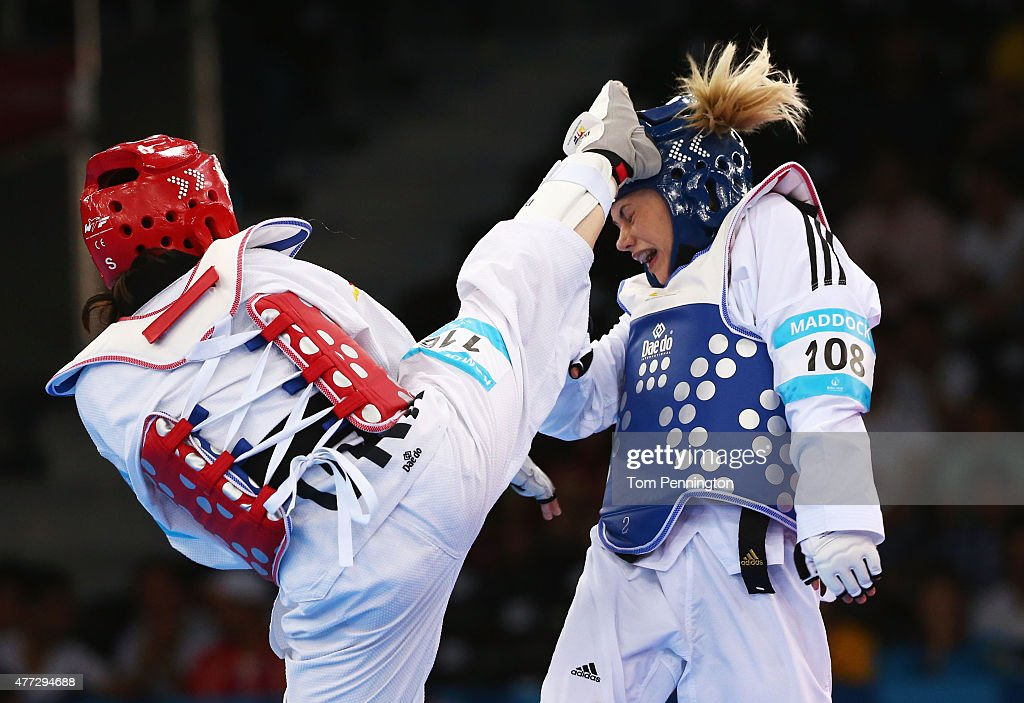 Charlie Maddock of Great Britain and Iryna Romoldanova of Ukraine compete in the Women's Taekwondo 49kg premlinary round during day four of the Baku...
