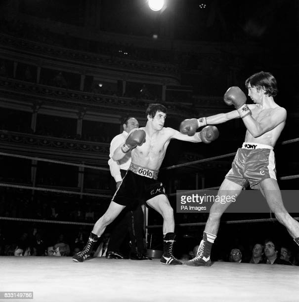 Charlie Magri the unbeaten British Flyweight champion squares up to his Spanish opponent Manuel Carrasco ranked eighth in Europe during their...