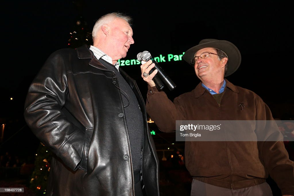 Charlie Manuel (L) and Scott Palmer attend the Philadelphia Phillies Christmas tree lighting ceremony at Citizens Bank Park on Saturday December 15, 2012 in Philadelphia, Pennsylvania.