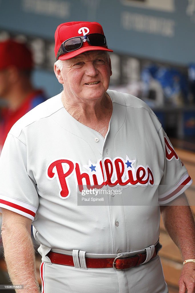 <a gi-track='captionPersonalityLinkClicked' href=/galleries/search?phrase=Charlie+Manuel&family=editorial&specificpeople=217967 ng-click='$event.stopPropagation()'>Charlie Manuel</a> #41 manager of the Philadelphia Phillies looks on from the dugout during the game against the Los Angeles Dodgers on Wednesday, July 18, 2012 at Dodger Stadium in Los Angeles, California. The Dodgers won the game 5-3.