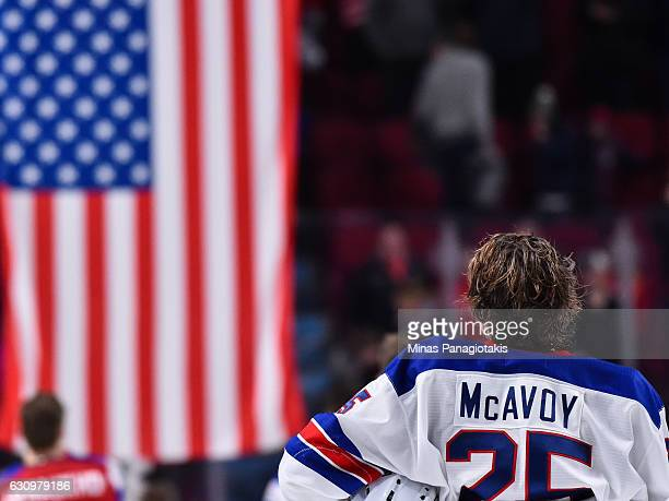 Charlie McAvoy of Team United States watches the United States of America flag being raised after their shootout victory during the 2017 IIHF World...