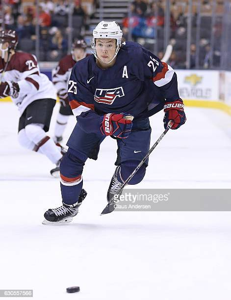 Charlie McAvoy of Team USA chases after a puck against Team Latvia during a 2017 IIHF World Junior Hockey Championship game at the Air Canada Centre...