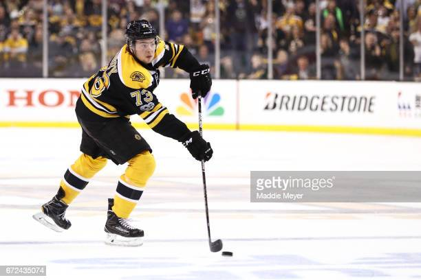 Charlie McAvoy of the Boston Bruins skates against the Ottawa Senators during the first period of Game Six of the Eastern Conference First Round...