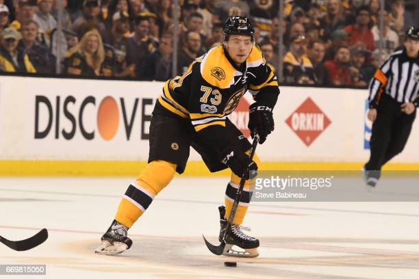 Charlie McAvoy of the Boston Bruins skates against the Ottawa Senators in Game Three of the Eastern Conference First Round during the 2017 NHL...