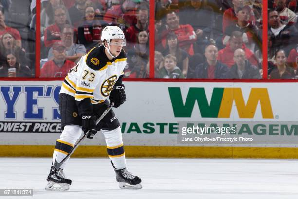 Charlie McAvoy of the Boston Bruins skates against the Ottawa Senators in Game Five of the Eastern Conference First Round during the 2017 NHL Stanley...