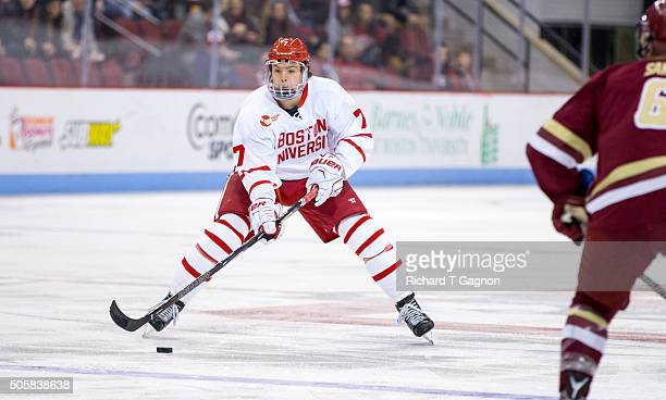 Charlie McAvoy of the Boston University Terriers skates against the Boston College Eagles during NCAA hockey at Agganis Arena on January 16 2016 in...