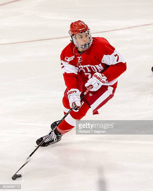 Charlie McAvoy of the Boston University Terriers skates against the Boston College Eagles during NCAA hockey at Kelley Rink on January 15 2016 in...