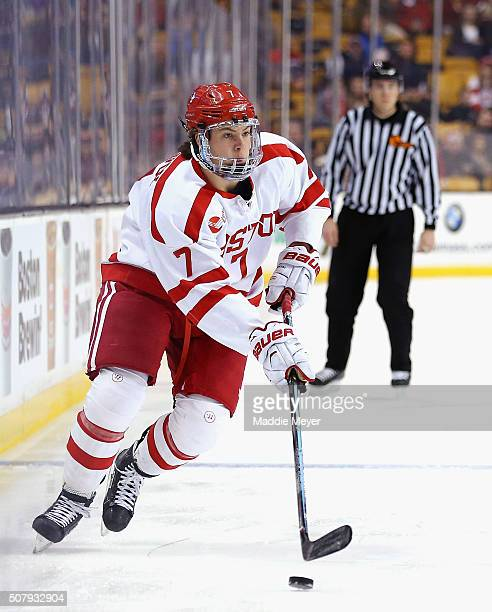 Charlie McAvoy of the Boston University Terriers skates against the Northeastern Huskies during the third period at TD Garden on February 1 2016 in...