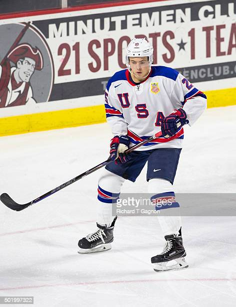 Charlie McAvoy of the USA National Junior Team skates during NCAA exhibition hockey against the Massachusetts Minutemen at the Mullins Center on...