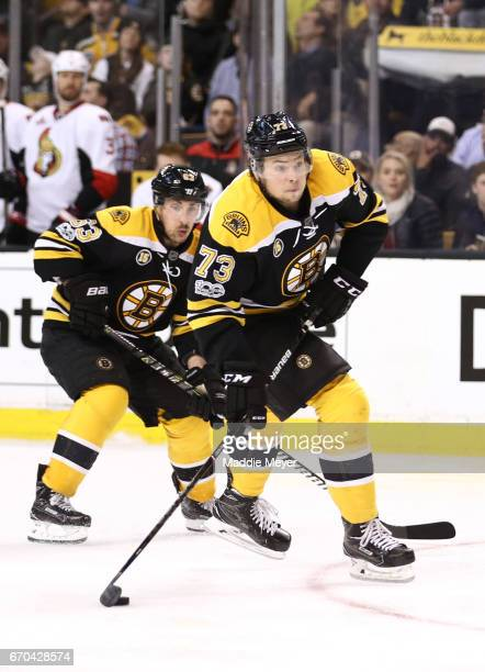 Charlie McAvoy skates against the Ottawa Senators during the third period of Game Four of the Eastern Conference First Round during the 2017 NHL...