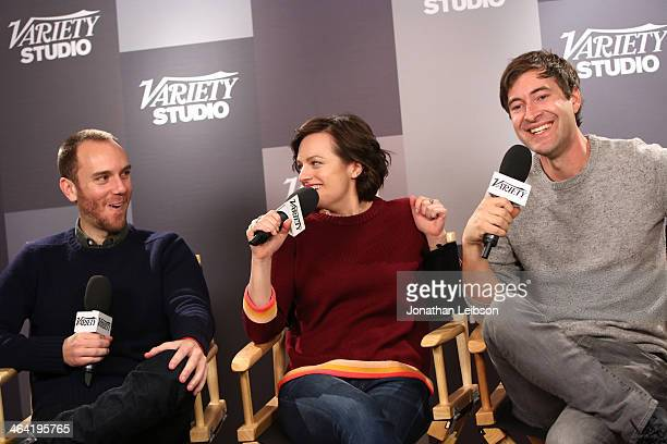 Charlie McDowell actress Elisabeth Moss Mark Duplass attend the Variety Studio Sundance Edition presented by Dawn Levyon January 21 2014 in Park City...