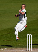 Charlie Morris of Worcestershire in full flight during Day 3 of the LV County Championship match between Sussex and Worcestershire at...