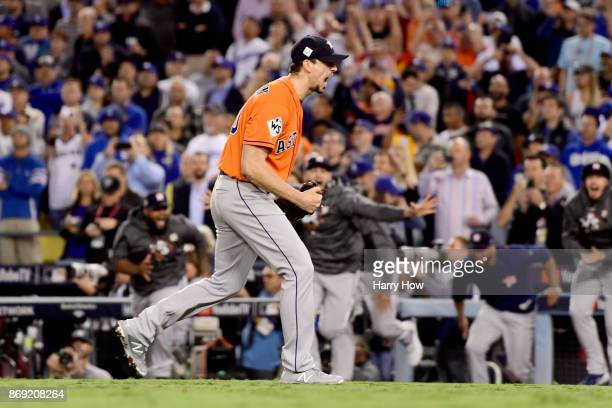 Charlie Morton of the Houston Astros celebrates after defeating the Los Angeles Dodgers in game seven with a score of 5 to 1 to win the 2017 World...