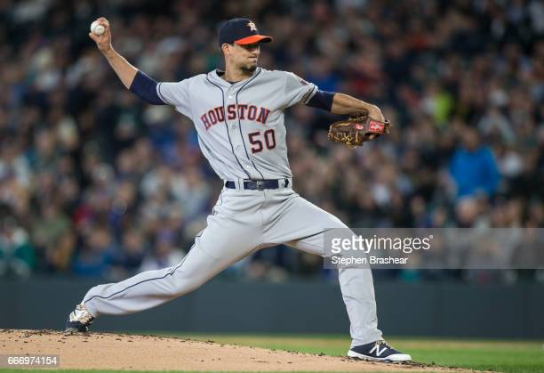 Charlie Morton of the Houston Astros delivers a pitch during the first inning against the Seattle Mariners in the home opener at Safeco Field on...