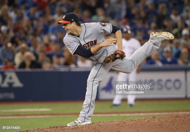 Charlie Morton of the Houston Astros delivers a pitch in the fifth inning during MLB game action against the Toronto Blue Jays at Rogers Centre on...