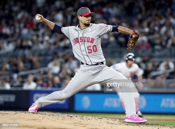 Charlie Morton of the Houston Astros delivers a pitch in the first inning against the New York Yankees in Game 2 on May 14 2017 at Yankee Stadium in...