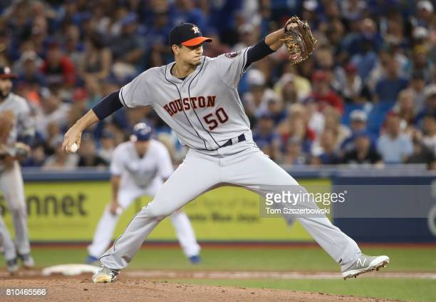 Charlie Morton of the Houston Astros delivers a pitch in the first inning during MLB game action against the Toronto Blue Jays at Rogers Centre on...
