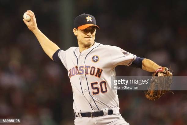 Charlie Morton of the Houston Astros delivers in the first inning of a game against the Boston Red Sox at Fenway Park on September 29 2017 in Boston...