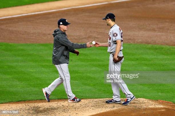 Charlie Morton of the Houston Astros exits the game with 2 outs in the fourth inning against the New York Yankees in Game Three of the American...