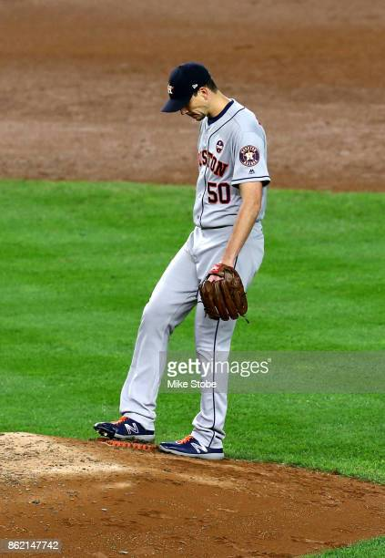 Charlie Morton of the Houston Astros looks on during the fourth inning against the New York Yankees in Game Three of the American League Championship...