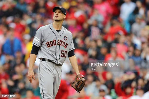 Charlie Morton of the Houston Astros looks on in the fifth inning against the Boston Red Sox during game four of the American League Division Series...