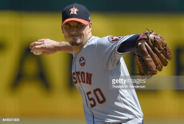 Charlie Morton of the Houston Astros pitches against the Oakland Athletics in the bottom of the first inning during game one of a doubleheader at...