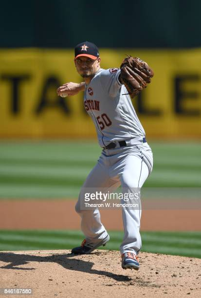 Charlie Morton of the Houston Astros pitches against the Oakland Athletics in the bottom of the first inning at Oakland Alameda Coliseum on September...
