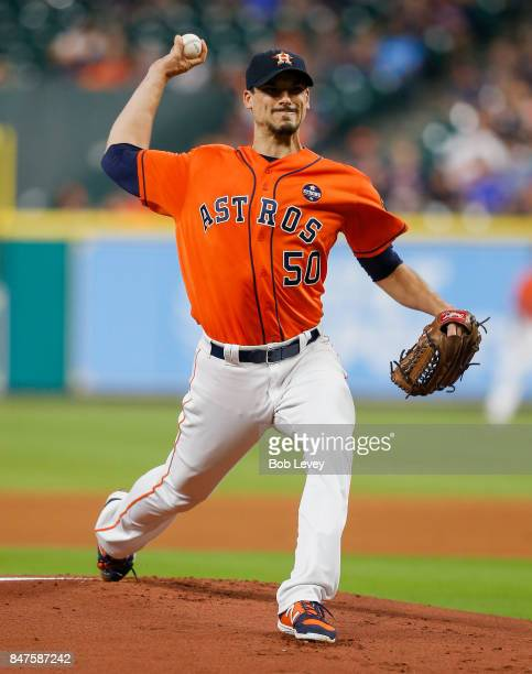 Charlie Morton of the Houston Astros pitches in he first inning against the Seattle Mariners at Minute Maid Park on September 15 2017 in Houston Texas