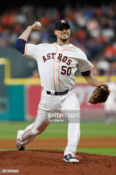 Charlie Morton of the Houston Astros pitches in the fifth inning against the Detroit Tigers at Minute Maid Park on May 24 2017 in Houston Texas