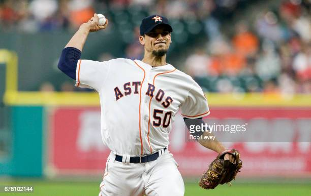 Charlie Morton of the Houston Astros pitches in the first inning against the Texas Rangers at Minute Maid Park on May 3 2017 in Houston Texas