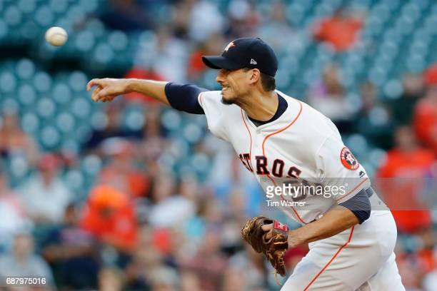 Charlie Morton of the Houston Astros pitches in the first inning against the Detroit Tigers at Minute Maid Park on May 24 2017 in Houston Texas