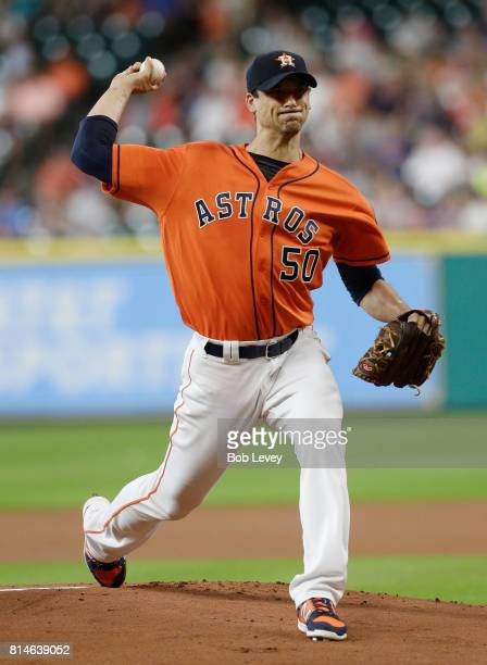 Charlie Morton of the Houston Astros pitches in the first inning against the Minnesota Twins at Minute Maid Park on July 14 2017 in Houston Texas