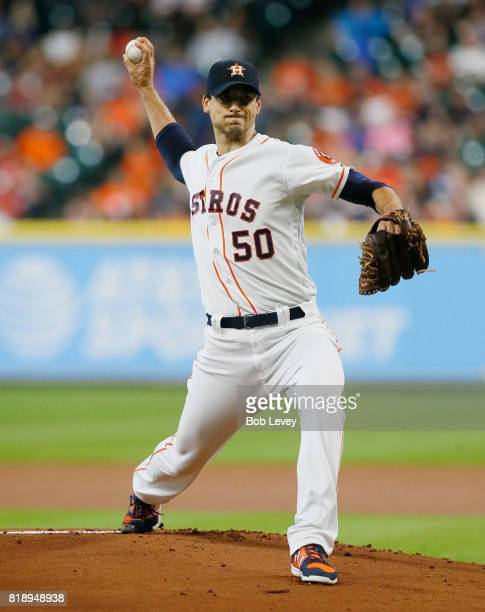 Charlie Morton of the Houston Astros pitches in the first inning against the Seattle Mariners at Minute Maid Park on July 19 2017 in Houston Texas