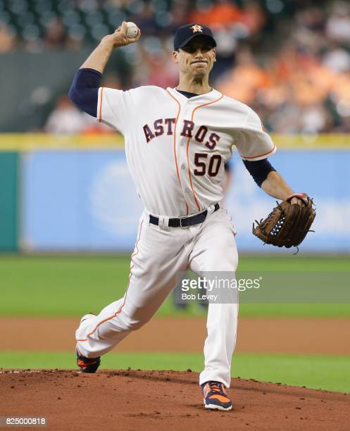 Charlie Morton of the Houston Astros pitches in the first inning against the Tampa Bay Rays at Minute Maid Park on July 31 2017 in Houston Texas