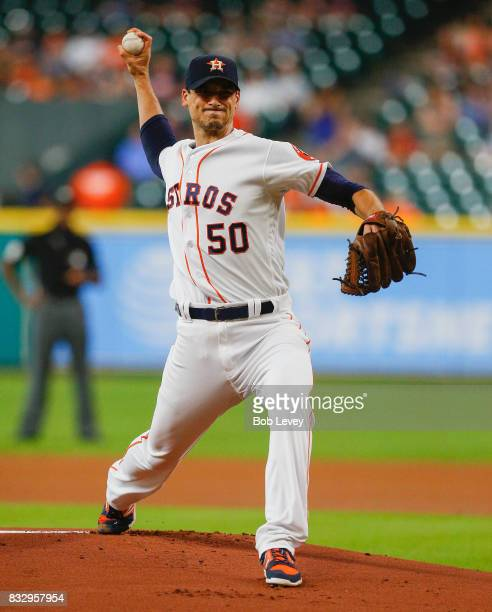 Charlie Morton of the Houston Astros pitches in the first inning against the Arizona Diamondbacks at Minute Maid Park on August 16 2017 in Houston...