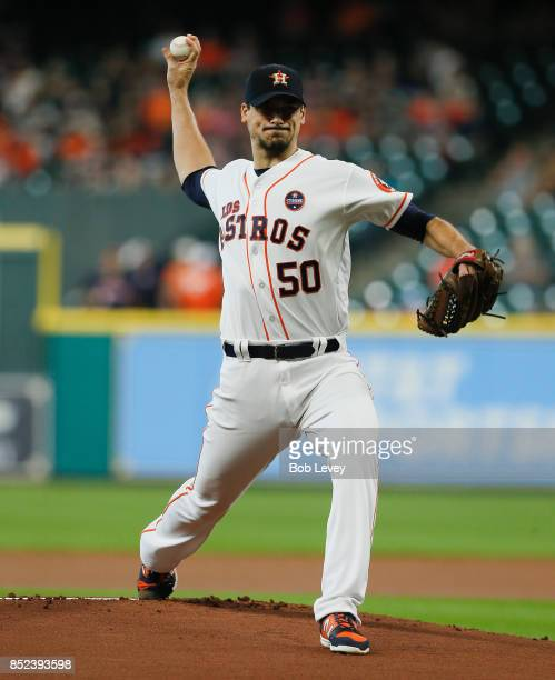 Charlie Morton of the Houston Astros pitches in the first inning against the Los Angeles Angels of Anaheim at Minute Maid Park on September 23 2017...