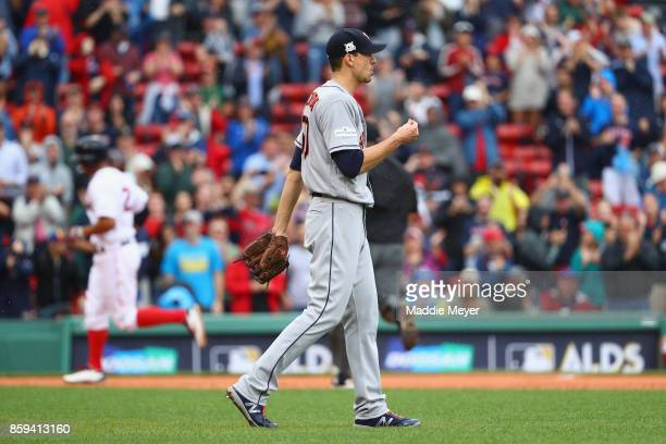 Charlie Morton of the Houston Astros reacts after a solo home run by Xander Bogaerts of the Boston Red Sox during game four of the American League...