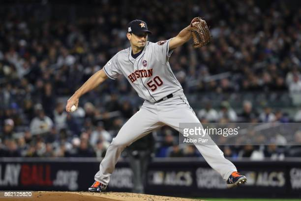 Charlie Morton of the Houston Astros throws a pitch against the New York Yankees during the first inning in Game Three of the American League...