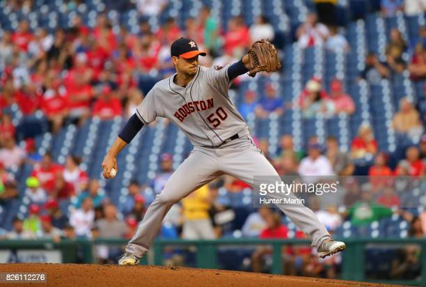 Charlie Morton of the Houston Astros throws a pitch during a game against the Philadelphia Phillies at Citizens Bank Park on July 25 2017 in...