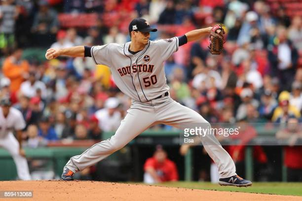 Charlie Morton of the Houston Astros throws a pitch in the first inning against the Boston Red Sox during game four of the American League Division...