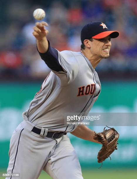 Charlie Morton of the Houston Astros throws against the Texas Rangers in the first inning at Globe Life Park in Arlington on August 11 2017 in...