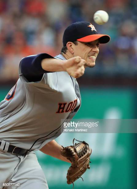 Charlie Morton of the Houston Astros throws against the Texas Rangers in the third inning at Globe Life Park in Arlington on August 11 2017 in...
