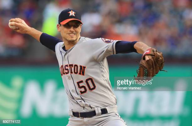 Charlie Morton of the Houston Astros throws against the Texas Rangers at Globe Life Park in Arlington on August 11 2017 in Arlington Texas