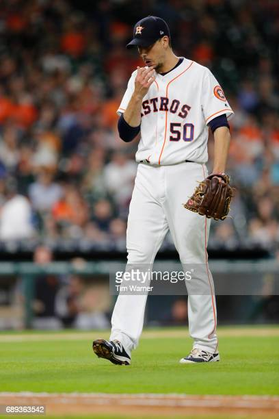 Charlie Morton of the Houston Astros walks to the dugout after the sixth inning against the Detroit Tigers at Minute Maid Park on May 24 2017 in...