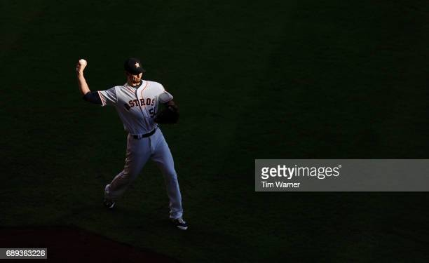 Charlie Morton of the Houston Astros warms up before the game against the Detroit Tigers at Minute Maid Park on May 24 2017 in Houston Texas