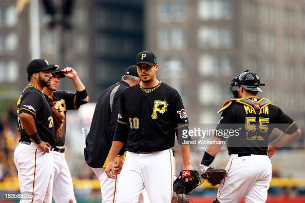 Charlie Morton of the Pittsburgh Pirates walks back to the dugout after being pulled by manager Clint Hurdle in the sixth inning against the St Louis...