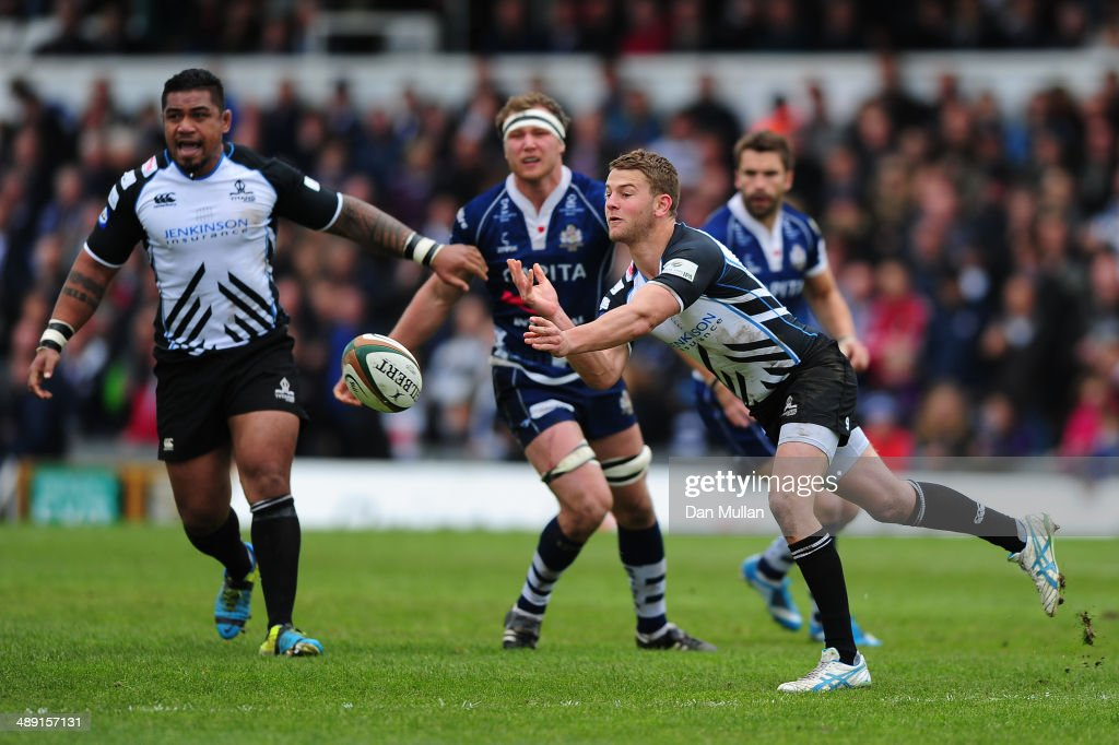 Charlie Mulchrone of Rotherham Titans releases a pass during the Greene King IPA Championship Play Off First Leg match between Bristol Rugby and Rotherham Titans at The Memorial Ground on May 10, 2014 in Bristol, England.