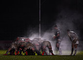 Charlie Mulchrone of Worcester Cavaliers stands over the scrum during the Aviva Premiership Rugby A League Final between Worcester Cavaliers and...